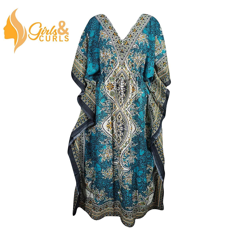 07b2235417 Get Quotations · GIRLS N CURLS Women Kaftan Dress Beach Cover up Ladies  Fashion Kaftan Boho Beachwear Swimwear Coverup