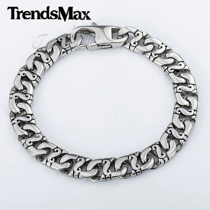 Customized 9 5mm Marina Biker Silver Tone 316L Stainless Steel Bracelet Mens Boys Chain Bracelet Wholesale