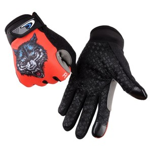 Bicycle Full Finger Sports Gloves Breathable Red Racing Gloves Cycling