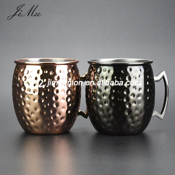 wholesale hammered copper moscow mule Black Copper Beer drinking Mug Cup set