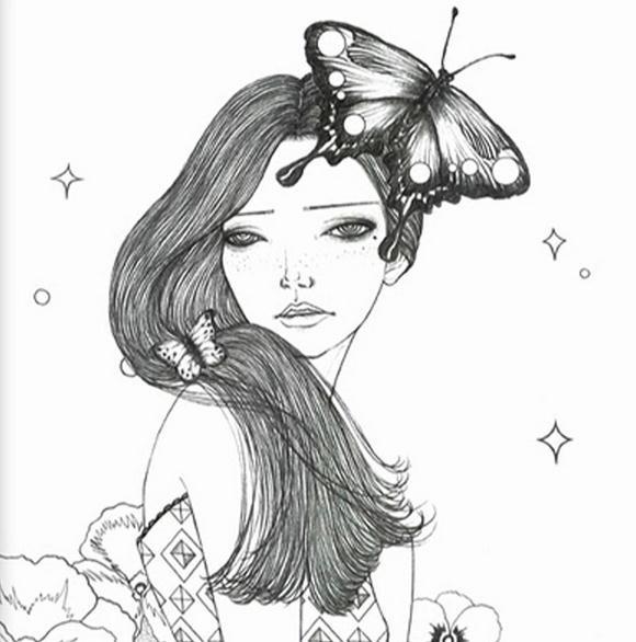 Rüya Kız Yetişkin Dekompresyon Boyama Kitabı Moda Tasarım