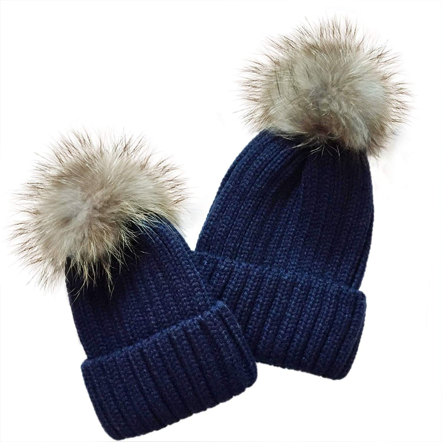 d4eafd7595a YC FASHION 2PC Parent-Child Real Raccoon Fur Pom Pom Knit Hat Stretchy  Mother Baby