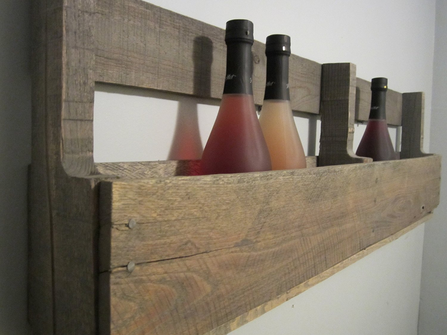 Pallet Wine Rack Barn Wood Gray Finish, Holds 8 Standard Sized 750mL Wine Bottles, Wall Mounted …