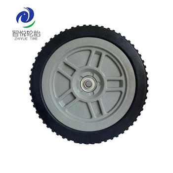 9 inch solid rubber wheel with bearing for dustbin, push cart, hand trolley