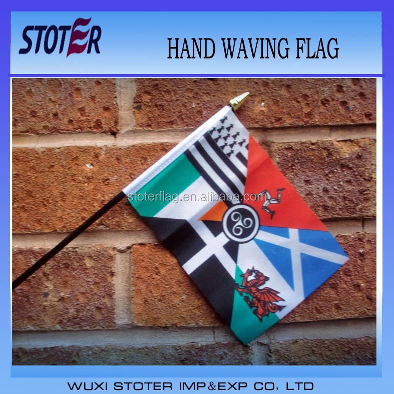Nations Hand Waving Flag Small 6 X 4 With 10 Pole Scotland Eire ...