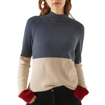 AW 2020 Custom Womens Mock Pullover Cozy cashmere Color Block knitted jumpers latest sweater turtleneck women top