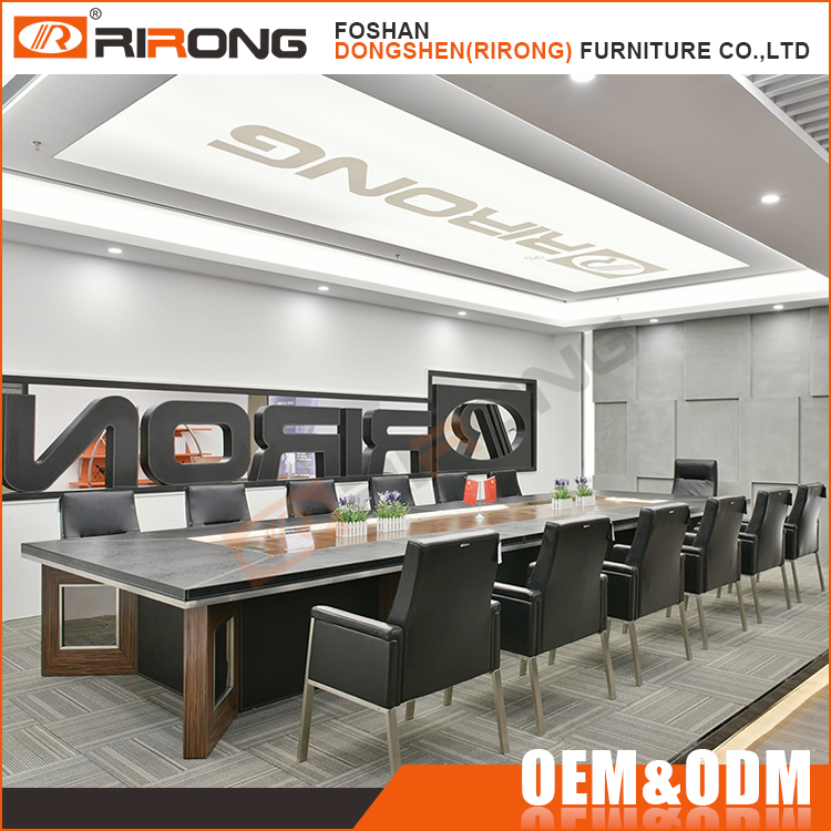 Modern Office Conference Boardroom Meeting Room Table and Leather Chairs Set