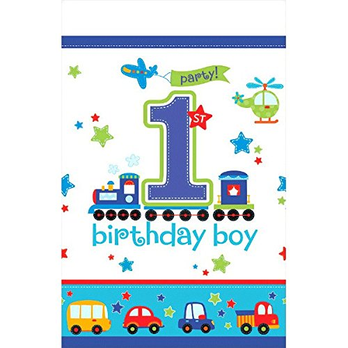 """All Aboard! Birthday Party Plastic Table Cover, Multi Colored, plastic, 54"""" x 102"""", 1-Piece"""