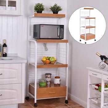 Kitchen Furniture Wooden Kitchen Storage Trolley Microwave Oven