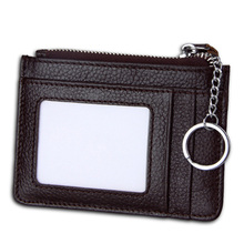 New Small Genuine Leather ID Credit Card Holder 지퍼 Coin Purse 와 키 링