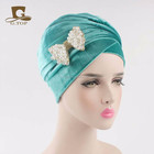 NEW luxury hijab velour Turban Head Wrap Extra Long tube Scarf Tie with the beaded bow brooch