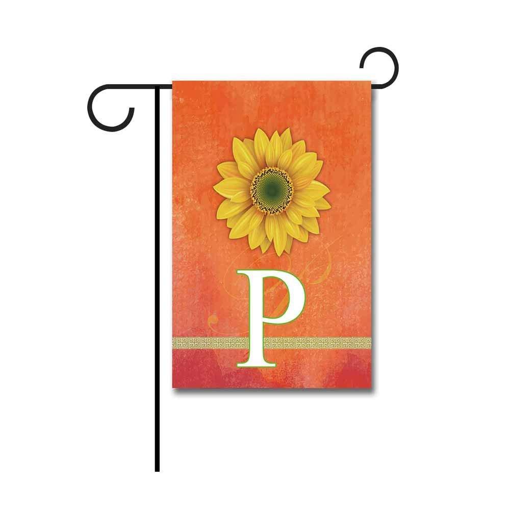 """Kafepross Sunflower Letter Garden Flag Monogram """"P"""" 12.5""""x18"""" Print Both Sides"""