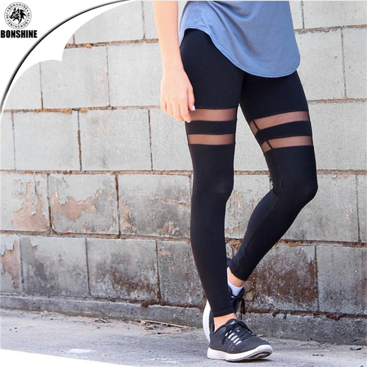 2017 Europe style women double ring mesh yarn stitching perspective yoga exercise leggings pants