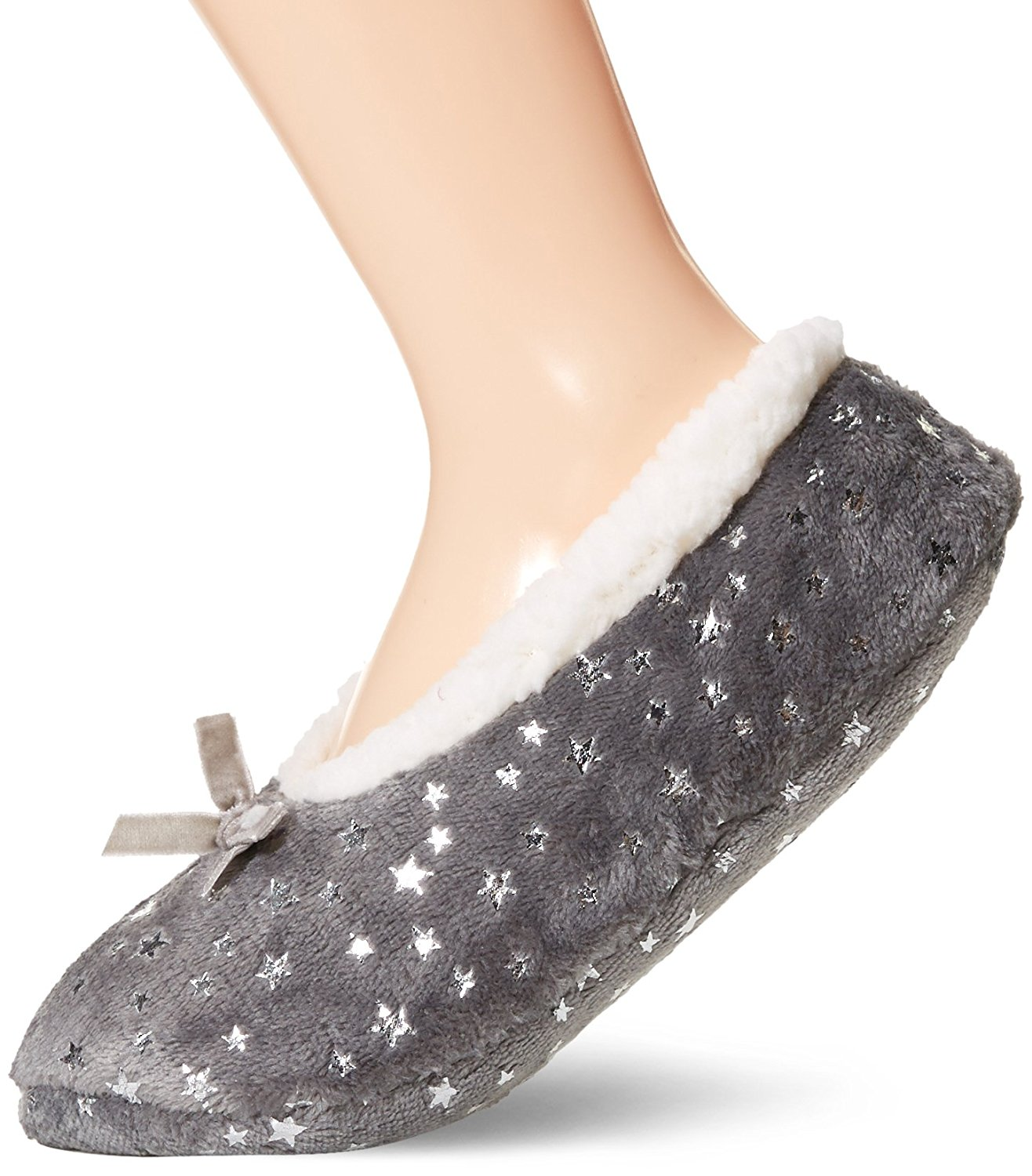 Toes in A Blanket Women's Ladies indoor slipper socks with bowtie and shinny prints S/M Dark Grey