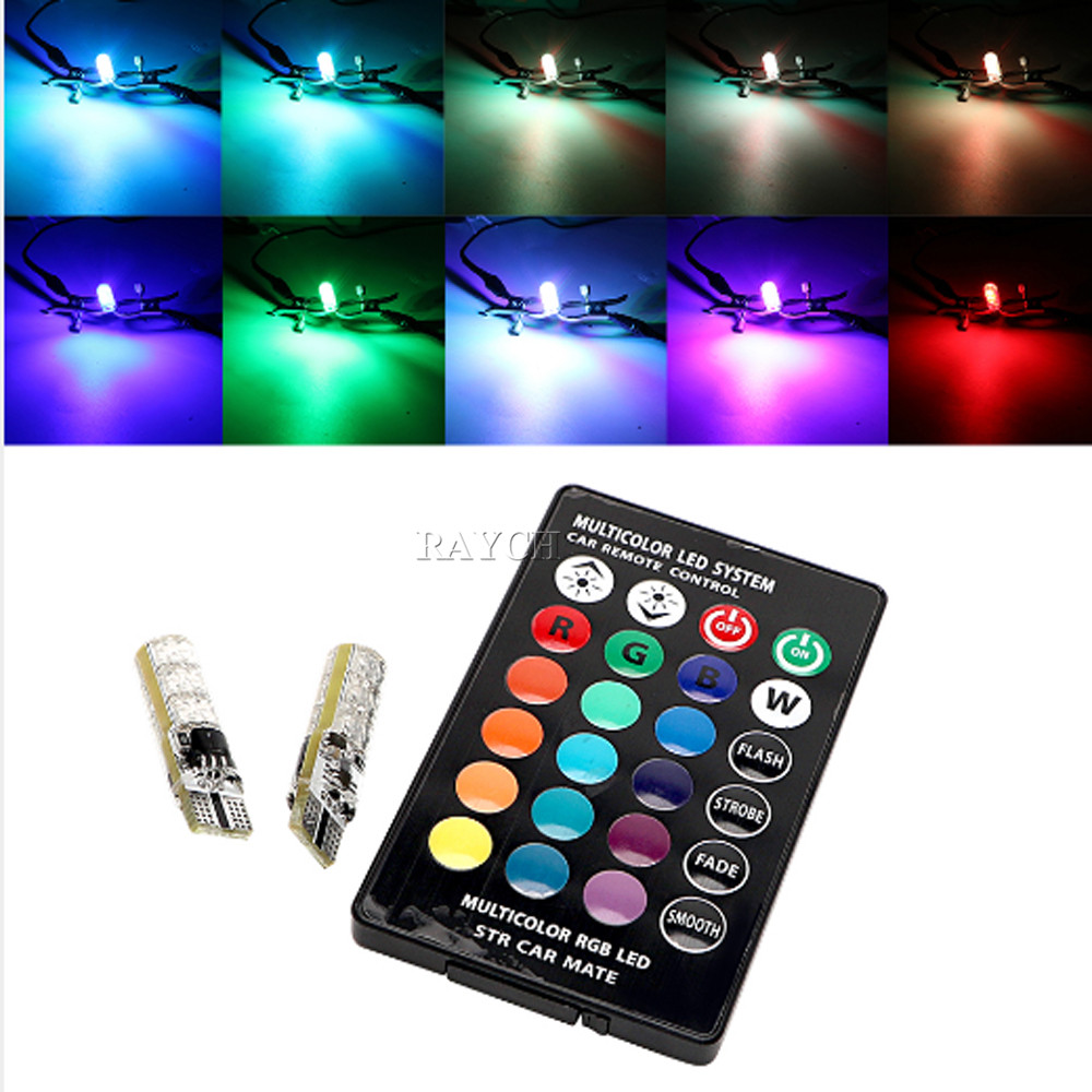 1set Remote Control Car Interior RGB LED Car Reading Light DC 12V T10 5050 Bright Lamp Bulb Auto Interior Lamps Clearance light