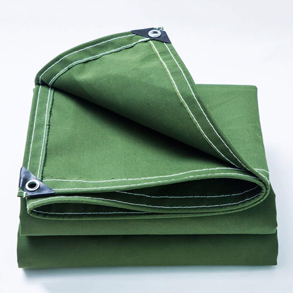 WUFENG Tarpaulin Thicken Canvas Rain Cloth Dust-proof Windproof Truck Sun Protection Wear-resistant Shade Slag Truck Thickness 0.5mm 500g/m2 (Color : Green, Size : 3x4m)
