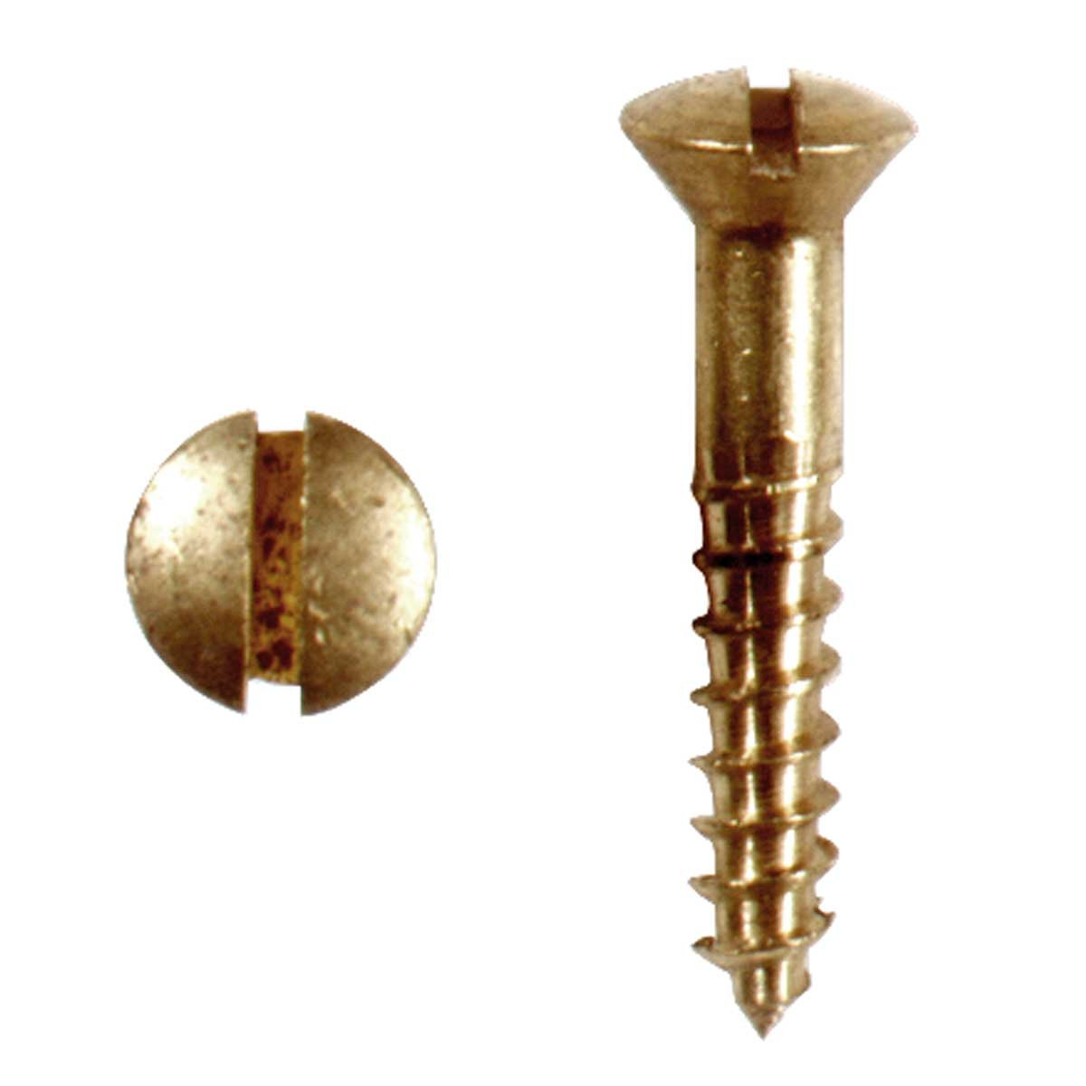 "Brass Oval Head Wood Screws # 6 3/4"" Qty 25 