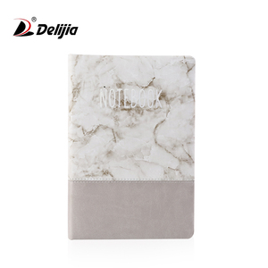 Custom logo printing a5 marble pattern handmade leather journal notebook with silk bookmark