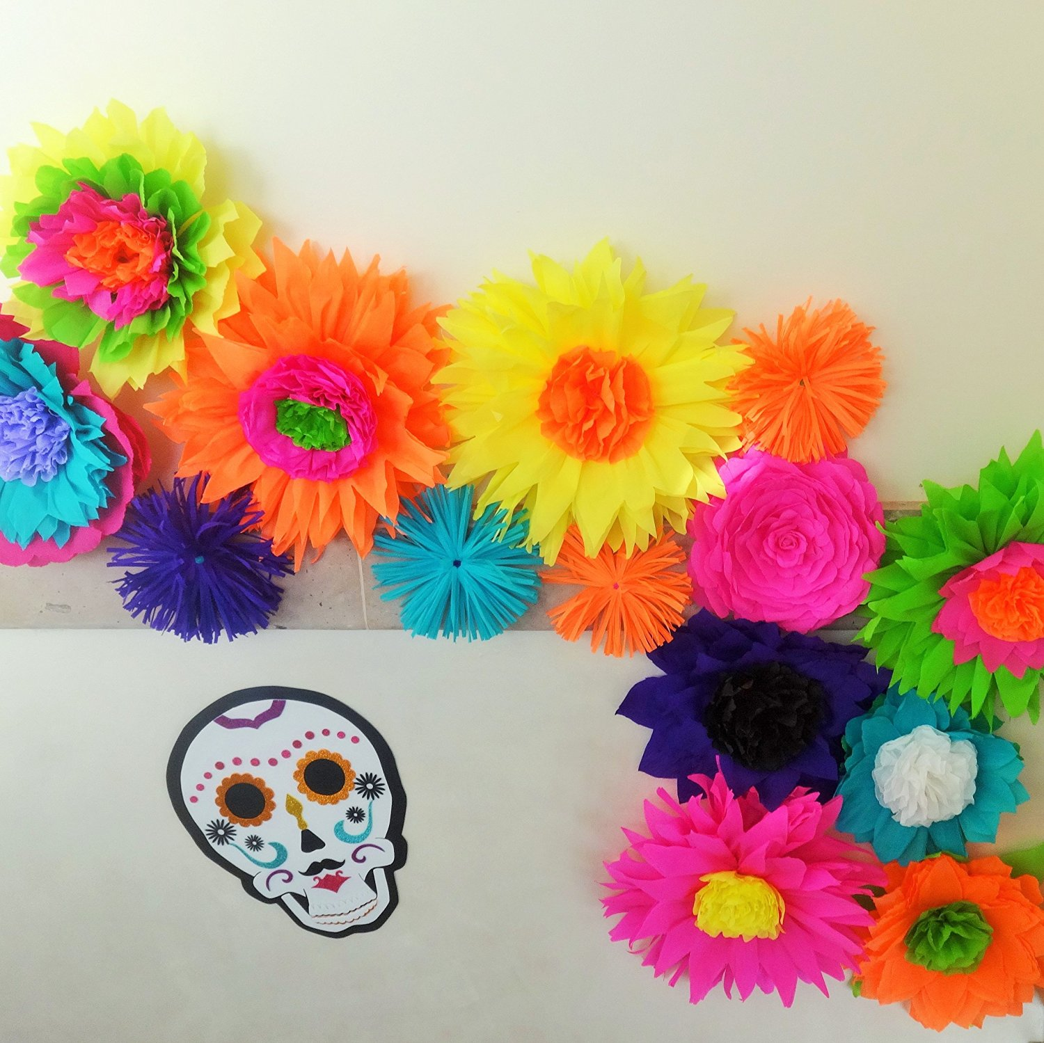 Buy flower garland bright beautiful colors mexican fiesta 12 unique flower garland bright beautiful colors mexican fiesta 12 unique crepe paper flowers mightylinksfo