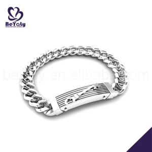 Simple design chain key engraved arabic ring bracelet