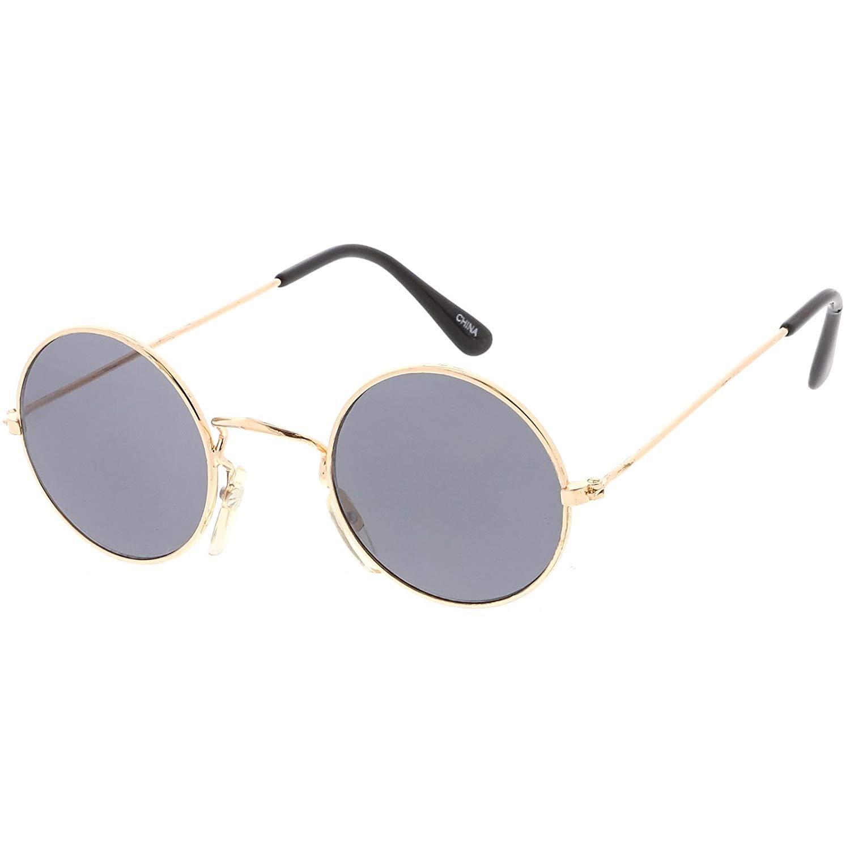 fdf6e8efffb Get Quotations · sunglassLA - True Vintage Small Thin Frame Circle  Sunglasses Neutral Colored Lens 42mm