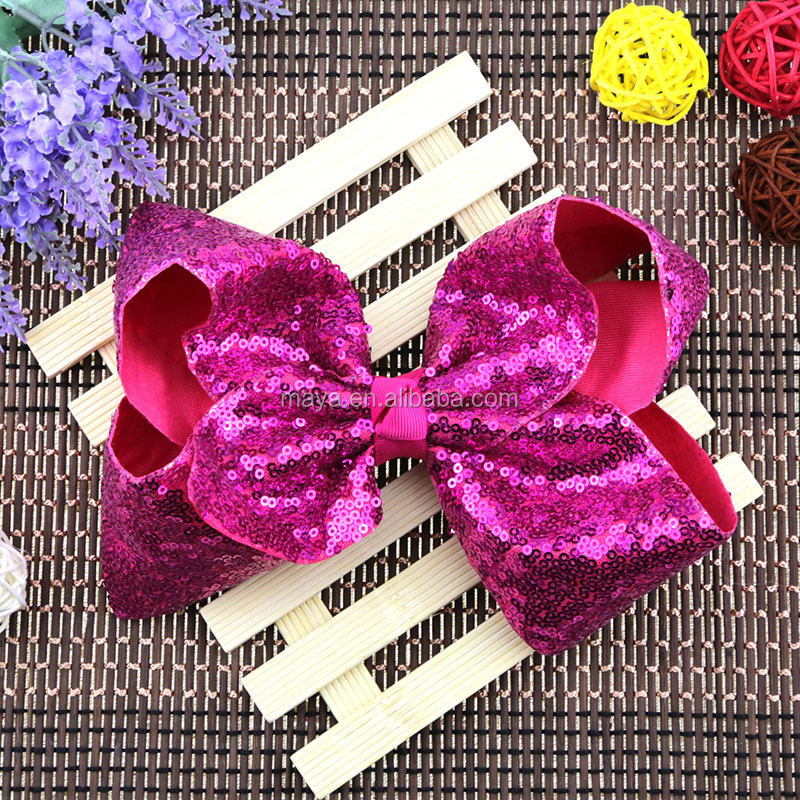 New design jojo bows 8 inch sequins Large hair bows for girls fashion hair accessories