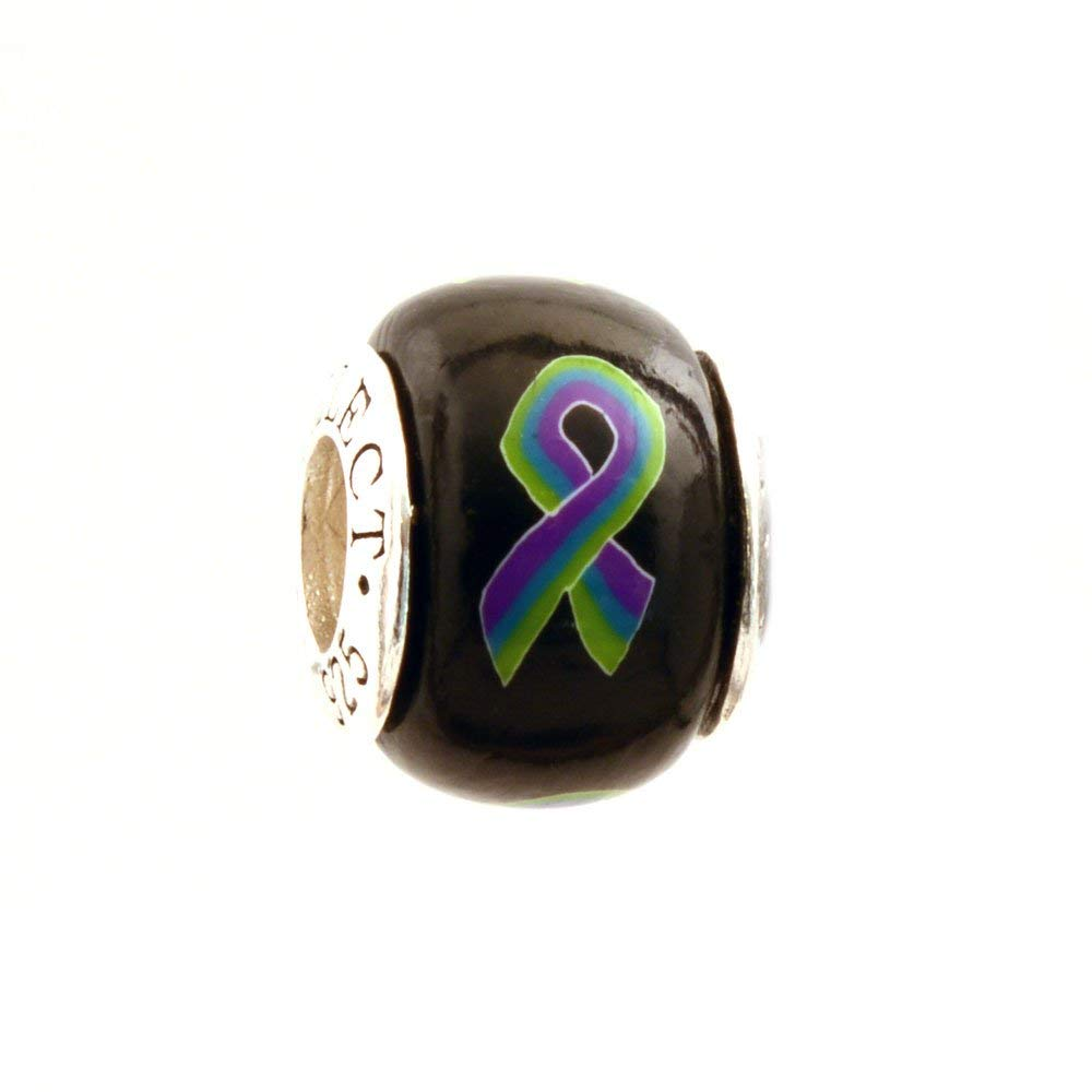 82fb95e80e8 Get Quotations · Purple Teal Green Awareness Ribbon MSK Medullary Songe  Kidney Disease Cecchi-Ricci Bead Charm for