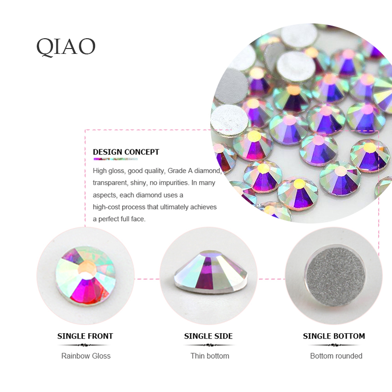 2019 Fashion Mix Sizes SS4 SS6 SS12 SS16 SS20 Colorful 1440pcs 3D Non Hot Fix Nail Art Flatback Rhinestones For Nail Study