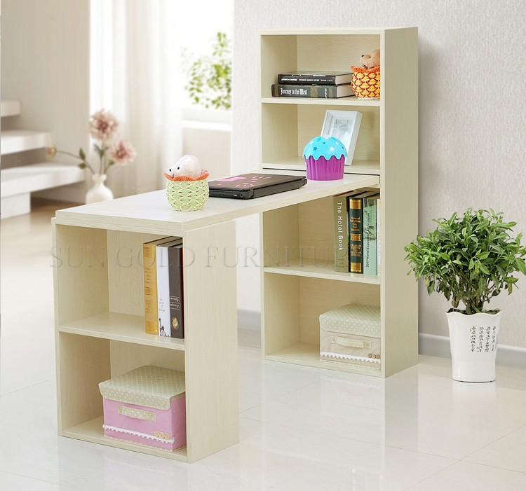 Modern Kids Study Table Computer Desk Bookcase Combination