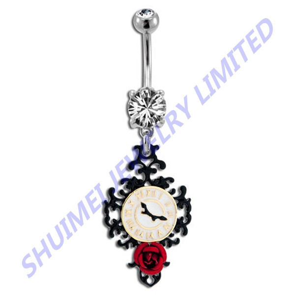 Stunning Prong Set Steampunk Tribal Clock & Rose Dangle Navel Belly Button Ring Piercing Body Jewelry
