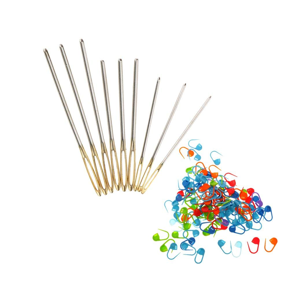 Jili Online 9 Pieces Large Eye Blunt Sewing Needle with 100 Pieces Locking Marker for DIY Crafts