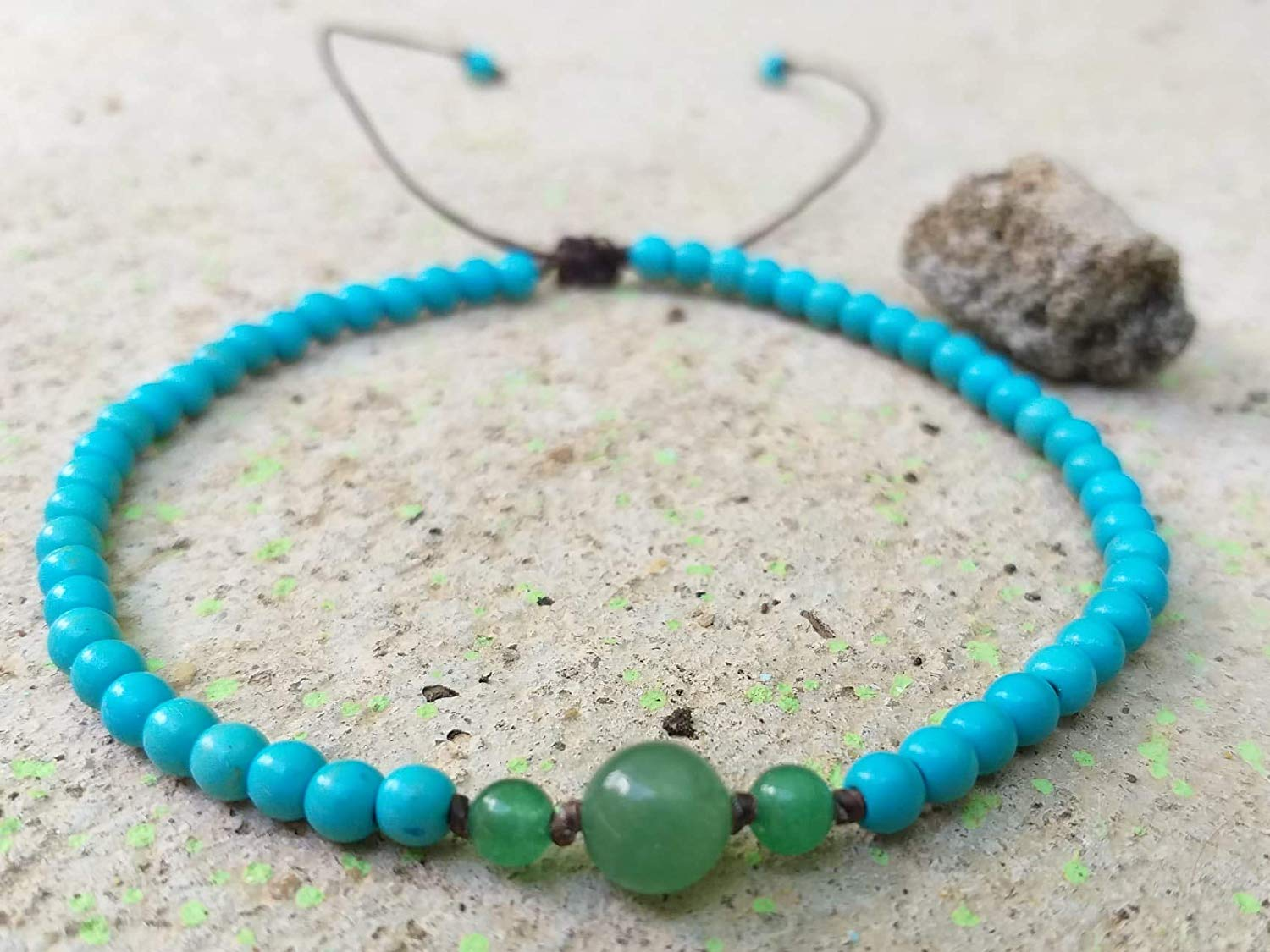 Anklets,Turquoise stone anklets,Green jade stone anklets,It is fashionable for both women,Use as a gift.