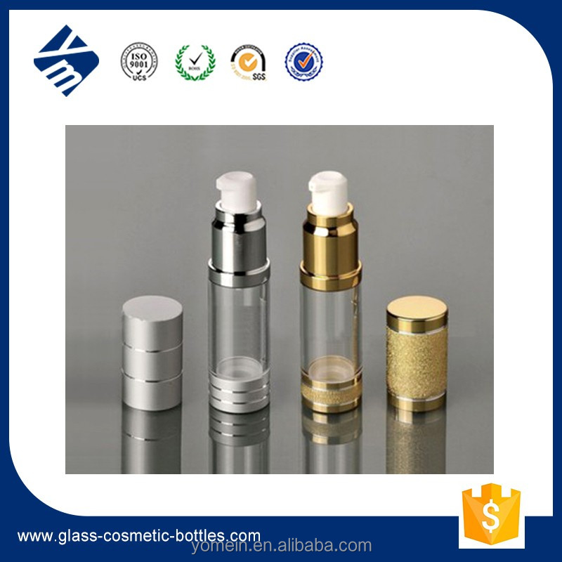 New Design Plastic Cosmetic Gold / Silver Airless Pump Bottle for Serum / Foundation / Cream