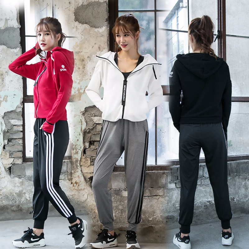 Women Hooded Running Jacket Long Sleeve Sweatshirt + Pants Set Ladies Yoga Sports Zipper Jacket Fitness Gym Shirts Women's