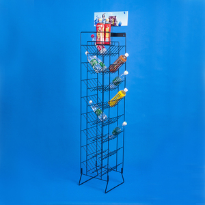 iron rod frame multi layer metal wire bottled drinks retail display promotion rack