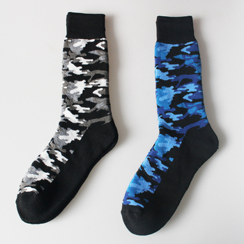 Men full cushion outdoor camouflage thermal crew socks