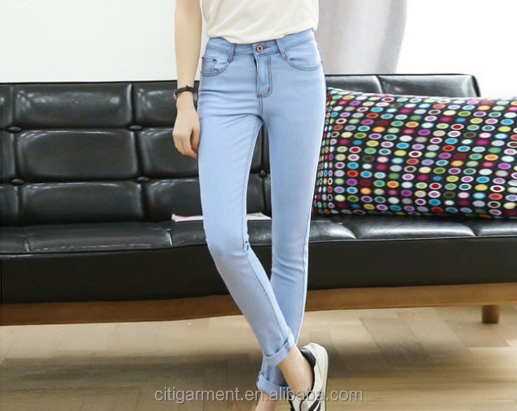 (stock)Popular fashion leisure pencil slim fit thin 9s women jeans