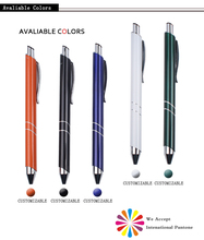 Novelty customized logo printed click promotional aluminum ball pen promotional anodizing aluminium pens