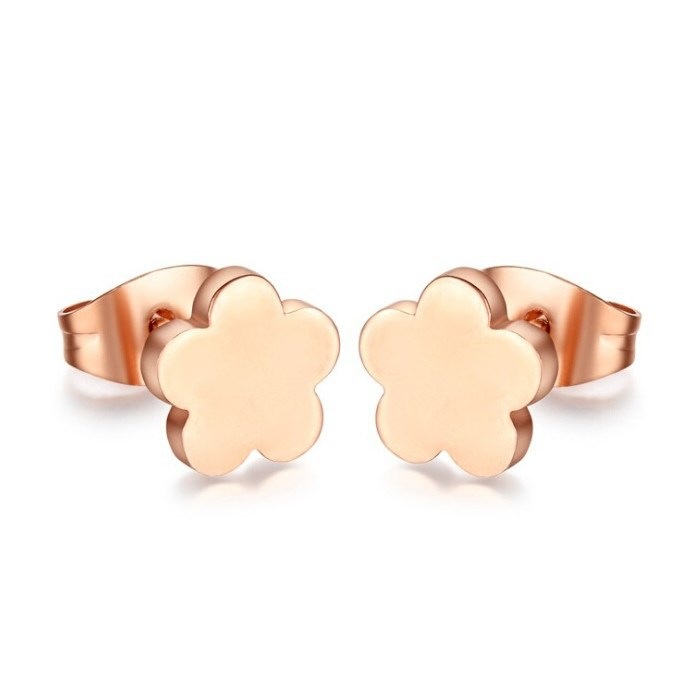 Spanish Brand Stainless Steel Rose Gold Flower Earring Stud