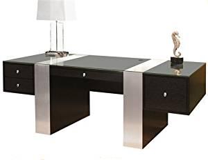 Premium Modern Executive Office Desk in Wenge & Brushed Aluminum