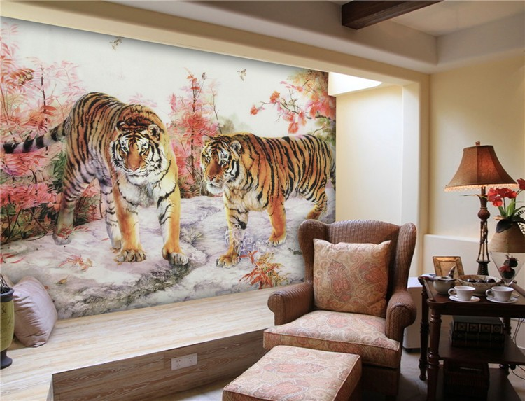 abstract tiger with nude women girl fabric oil painting design