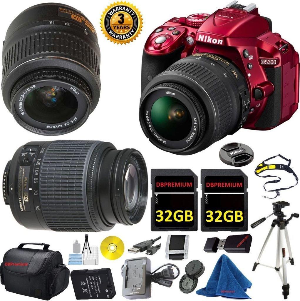 Nikon D5300 Digital SLR, NIKKOR 18-55mm f/3.5-5.6 Auto Focus-S DX VR, Nikon 55-200mm f4-5.6G ED Auto Focus-S DX Nikkor, 2pcs 32GB Memory, Case, 3 YEAR WORLDWIDE WARRANTY - International Version