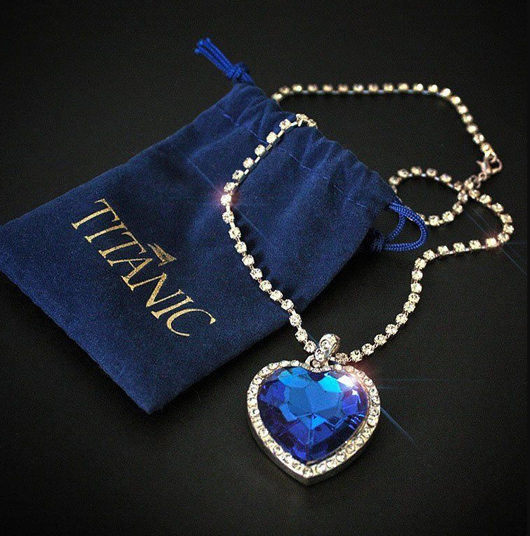 wholesale Titanic Heart of Ocean blue heart love forever pendant Necklace + velvet bag