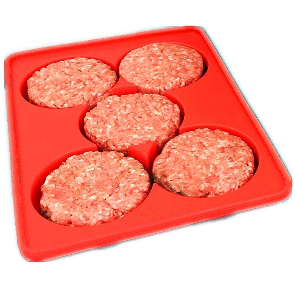 Silicone Burger Press - Hamburger Patty Maker & Freezer Container Dishwasher Safe Silicone Burger Press Mold Easily for Freezer Storage