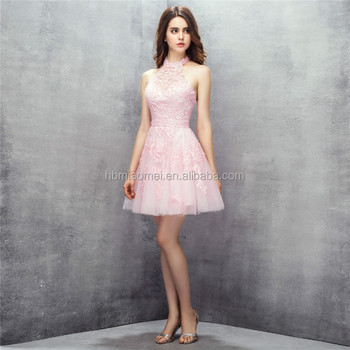 Cute Mini Design Pink Color Laced Halter Wedding Gowns Bridesmaid ...