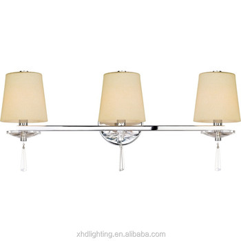 3 Lights Chrome Finish Bathroom Vanity Sconce Creme Shades Incandescent Luminaire Hd1303592