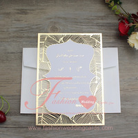 Luxury Laser Cut Paper Foiling In Gold Wedding Invitation