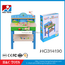 Hot Sale Wooden Workbench kids Pretend Play Toy Tool Set HC314190