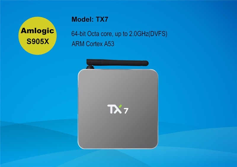 Newest chip Amlogic S905X TX7 Quad Core 2G 32G tv box android 6.0 set up box