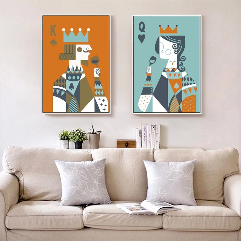 Contemporain Poker Toile Wall Art / Carte À Jouer Décoration